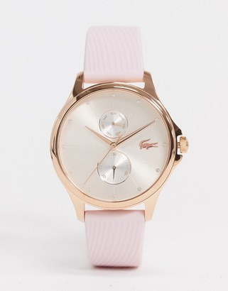 Lacoste silicone strap watch in pink