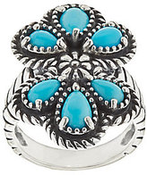 American West As Is Sleeping Beauty Turquoise Sterling Silver Cluster Ring