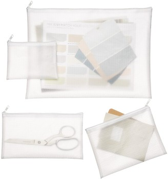 Container Store White Zippered Vinyl & Mesh Pouch Sets Pkg/4