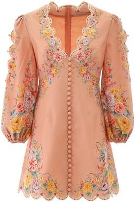 Zimmermann Floral Scallop Hemmed Mini Dress