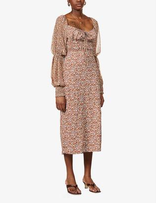 Free People Aglow floral-print woven midi dress