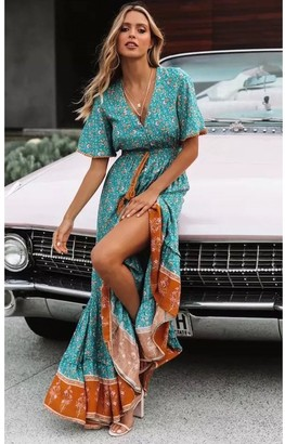 FS Collection Bohemian Style Maxi Dress In Mint Green Print