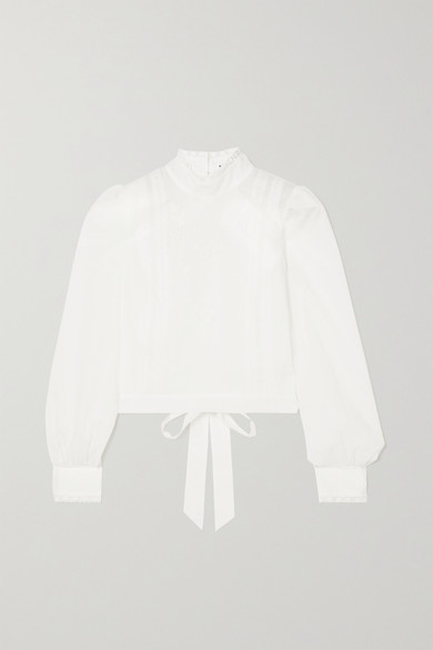 Reformation Tennyson Open-back Broderie Anglaise Organic Cotton-voile Blouse - White