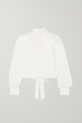 Reformation + Net Sustain Tennyson Open-back Broderie Anglaise Organic Cotton-voile Blouse - White