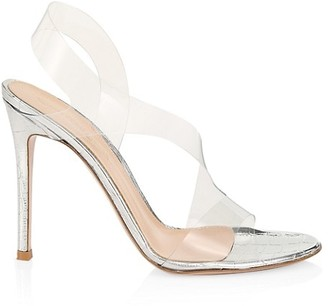 Gianvito Rossi PVC & Croc-Embossed Metallic Leather Slingback Sandals