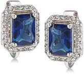 Carolee Silver-Tone Pavandeacute; and Blue Stone Clip-On Stud Earrings