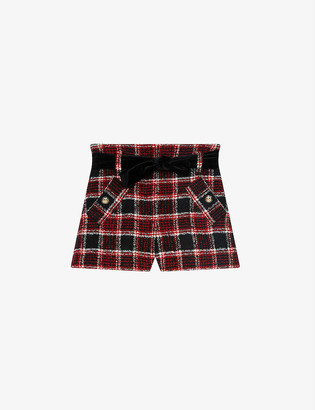Maje Itrit checked high-rise wool-blend shorts