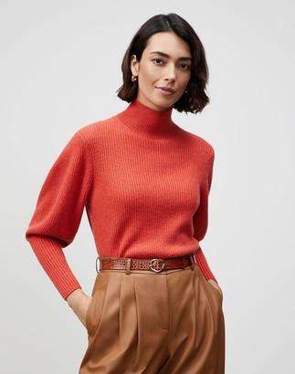 Lafayette 148 New York Petite KindCashmere Blouson Sleeve Mockneck Sweater