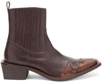 Martine Rose Que Angular-sole Leather Boots - Brown