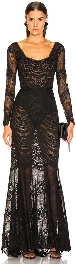 Jonathan Simkhai Lace Bustier Gown in Black | FWRD