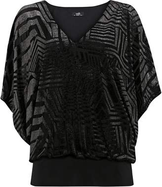Wallis Silver Velvet V-Neck Banded Top