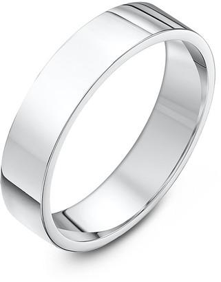 Theia Unisex Super Heavy Flat Court Shape Polished 9 ct White Gold 5 mm Wedding Ring - Size J