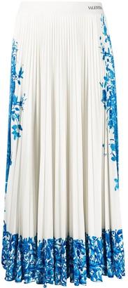 Valentino Bluegrace Bouquet pleated skirt