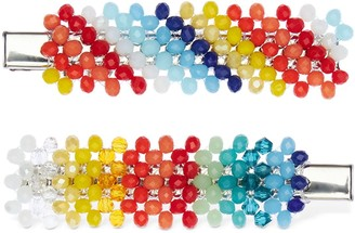 Dalood Set Of 2 Mismatched Rainbow Hair Clips