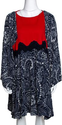 Chloé Navy Blue & Red Daisy Chain Print Lace Detail Short Dress L