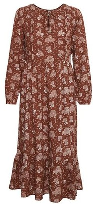 Blend She Rust Floral Midi Dress - M