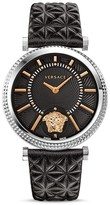 Versace V-Helix Stainless Steel Watch with Quilted Leather Strap, 38mm