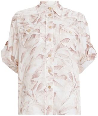 Zimmermann Super Eight Safari Shirt in Bleached Palm