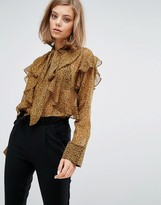 Sister Jane Chiffon Blouse With Frills In Leopard