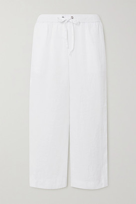 James Perse Cropped Linen Track Pants - White