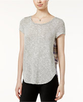 Almost Famous Juniors' Plaid-Back High-Low Top