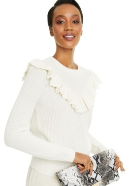 Charter Club Cashmere Imitation Pearl Detail Ruffle Sweater, Created for Macy's