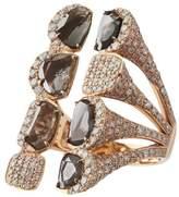 Saqqara 18kt Rose Gold Sliced Diamond Long Ring