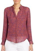 L'Agence Bianca Band Collar Silk Blouse