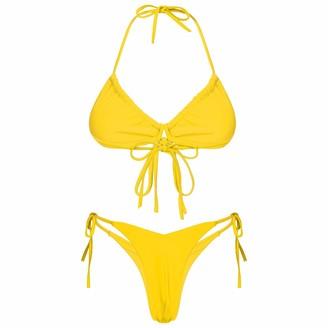 YUUMIN Woman's 2 Piece Halter Neck Bikini Thong Swimsuit Padded Bra Top Bralette Bathing Suit Swimwear Red L