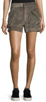 Helmut Lang Suede Buckled Mid-Rise Shorts, Mortar