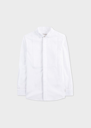 Paul Smith 2-6 Years White Pleated-Bib Cotton Tuxedo Shirt With 'Artist Stripe' Cuff Lining