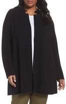 Eileen Fisher Plus Size Women's Rib Tencel Stand Collar Long Jacket