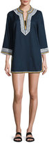 Tory Burch Embroidered 3/4-Sleeve Cotton Coverup Tunic, Tory Navy