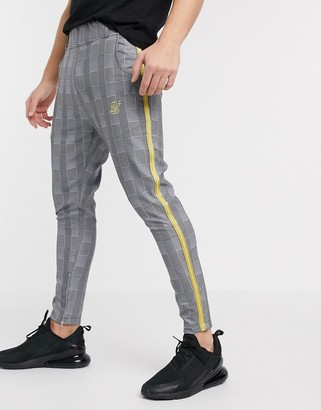 SikSilk slim pants in gray check with side stripe