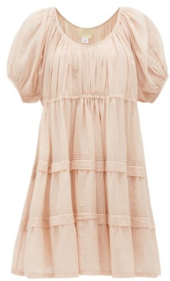 Jaipur Anaak Poet Pintucked Cotton-voile Mini Dress - Womens - Light Pink