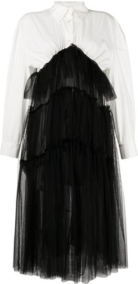 Act N�1 Tulle overlay shirt-dress