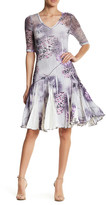 Komarov Paneled V-Neck Dress