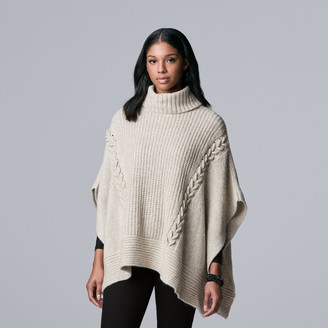Women's Simply Vera Vera Wang Cable-Knit Poncho Sweater