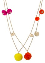 Women's Long Station Necklace with Pom Poms - Multicolor/Gold