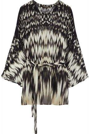 Roberto Cavalli Belted Printed Silk-Chiffon Tunic