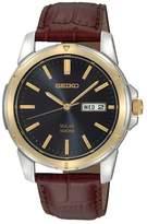 Seiko Men's Two Tone Stainless Steel Leather Solar Watch - SNE102