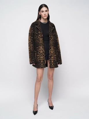 Saint Laurent Wool Blend Jacquard Knit Coat