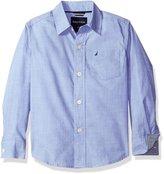 Nautica Little Boys' Long Sleeve Mini Gingham Print Trim Shirt
