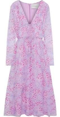 Carolina Herrera Bow-detailed Printed Silk-georgette Midi Dress