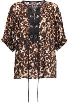 Roberto Cavalli Lace-Up Leopard-Print Silk-Crepe Top