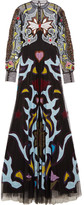 Mary Katrantzou Sundance lace and leather-trimmed appliquéd tulle gown