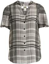 Diane von Furstenberg Stand-collar silk crepe de Chine blouse