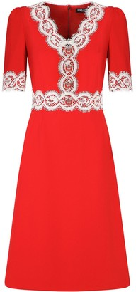 Dolce & Gabbana lace-embellished V-neck dress