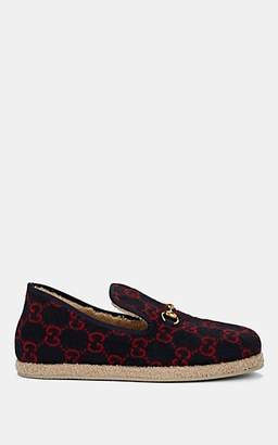 Gucci Men's Fria Logo-Print Wool Loafers - Red