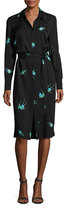 Diane von Furstenberg Bird-Print Silk Jersey Belted Shirtdress, Black Multicolor